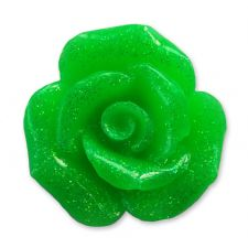 20mm NEON GREEN Glitter Rose Resin Flatback Cabochon